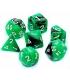 Komplet kości REBEL RPG - Dwukolorowe - Zielono-czarne