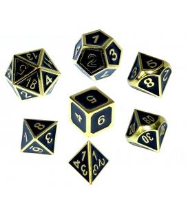 Komplet kości REBEL RPG - Metal - Tłoczona złocona czerń