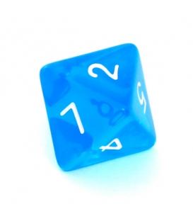 Kość REBEL kryształowa 8 Ścian - Cyfry - Niebieska