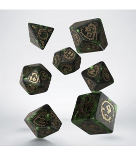 Kości RPG Smocze Butelkowo zielono-złote (7)