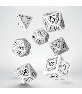 Kości RPG Elfickie Biało-czarne (7)