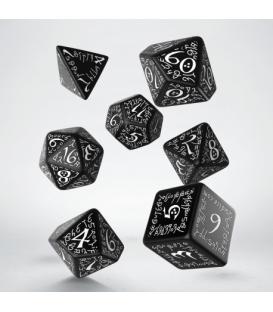 Kości RPG Elfickie Czarno-białe (7)