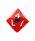Kość REBEL dwukolorowa 10 Ścian - Cyfry - Czerwono-czarna
