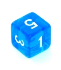 Kość REBEL kryształowa 6 Ścian - Cyfry - Niebieska